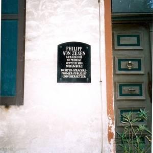 Schild Geburtshaus Philipp von Zesen Priorau